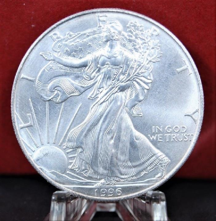 1996 Key Date Silver American Eagle BU 1 oz. US $1 Dollar Uncirculated Toning