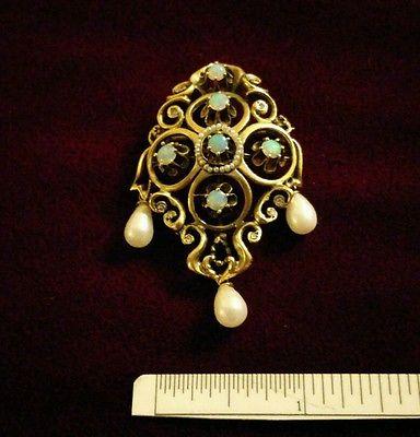 Vintage 14k Opal, Baroque Pearl, and Diamond Pendant/Brooch