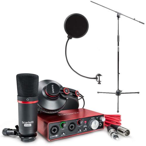 Focusrite Scarlett 2i2 USB Audio Recording Interface Studio Pack 2nd Gen W/ Mic