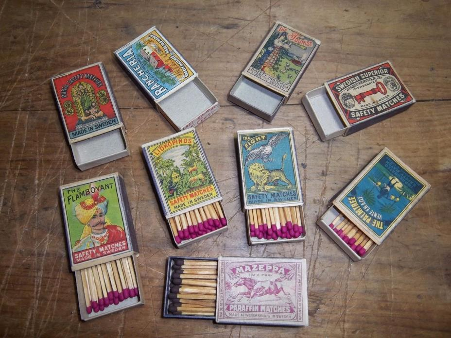 9 Antique Sweden Safety Matchbook Match Box Lot