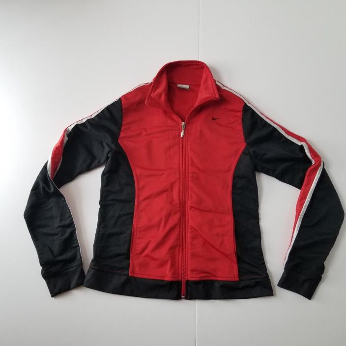 Nike Athletic Track Sweatshirt Boys M (8-10) Full Zip Long Sleeve Red/Black