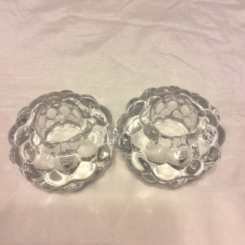 Orrefors Crystal  Tea Light Votive Raspberry 2 Candle Holders New