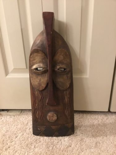 Hand-Carved African Wambebe Mask-Wall Decor-Ghana Carved Artwork