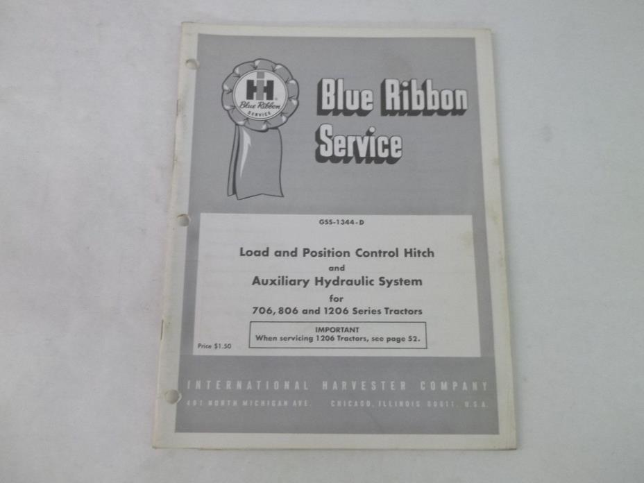 International Harvester 706 806 1206 Tractor Auxiliary Hydraulics Service Manual