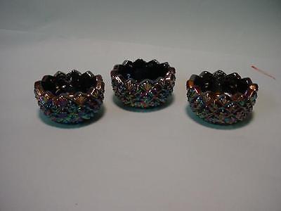 3 Black Carnival Glass Sawtooth Open Salt Cellers