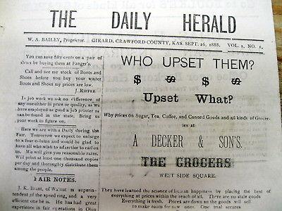 2 1888 GIRARD DAILY HERALD newspapers CRAWFORD COUNTY Kansas Vol I- # 1  &  #2