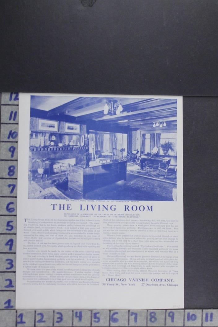 1907 EDWARDIAN ARCHITECTURAL DESIGN ROOM DECOR CARPENTRY VINTAGE AD EF006