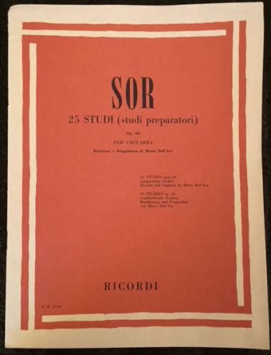 FERNANDO SOR ~ 25 STUDI (STUDI PREPARATORI) OP. 60 ~ ETUDES chitarra guitar