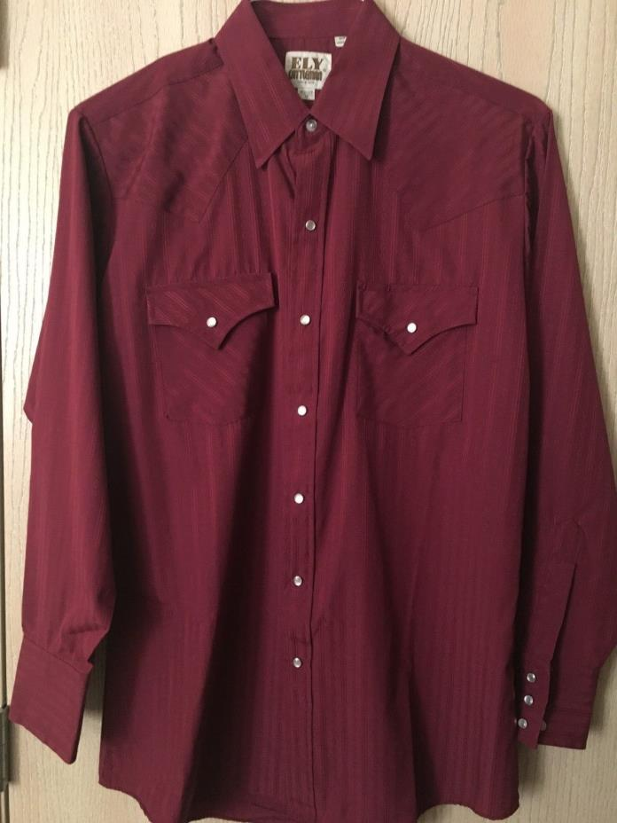 ELY Catlleman Men's Western Rodeo Shirt Pearl Snap Buttons Size M 15.5 33