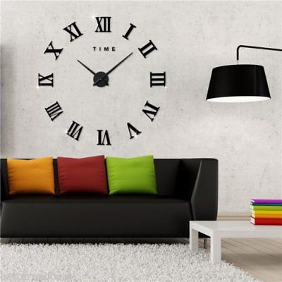 Modern DIY Analog 3D Mirror Surface Large Number Wall Clock Sticker Home Decor R