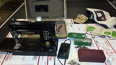 Awesome 1950's Singer Sewing Machine Model 301A Long Bed W/case Manual Extras