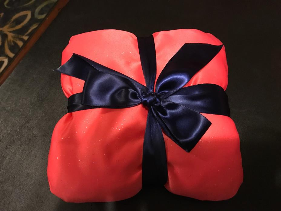Coral Glitter & Satin Ring Pillow with a navy Ribbon New