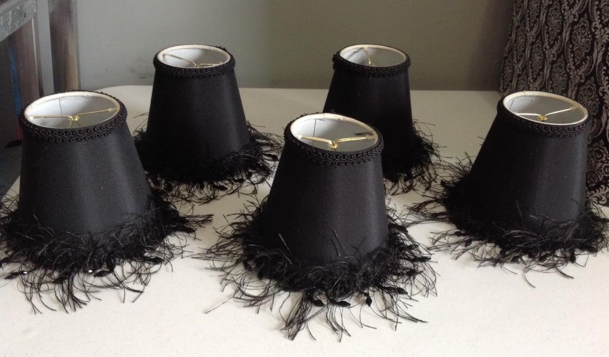 Lot of 5 Black Sconce or Chandelier Candelabra Lamp Shade