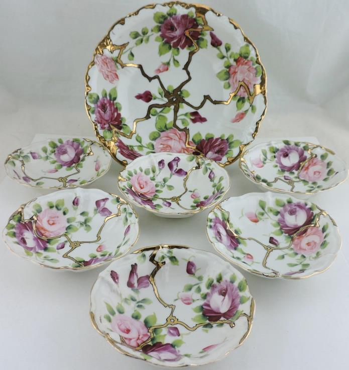 ANTIQUE BERRY/DESSERT/ICE CREAM BOWL SET 7,HAND PAINTED ROSE FLOWER,GOLD,PINK