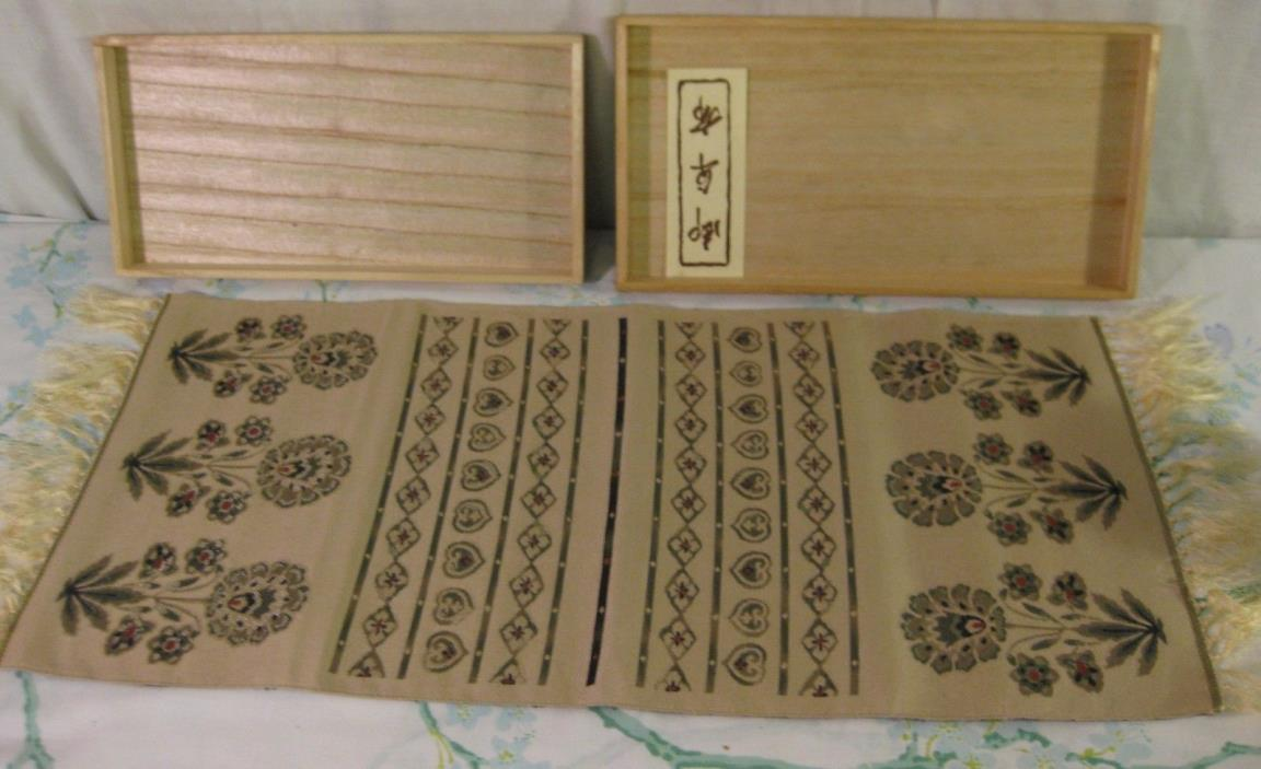Vintage Hand Woven Table Runner in Box Green Flowers Intricate 24