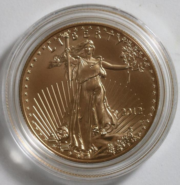 2012 W Burnished Gold Eagle $50 1 Oz Gold Box No Papers