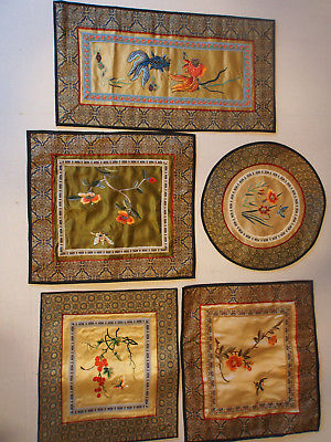 Lot 5 Vintage Chinese Hand Embroid Fish Koi Birds Figurals Silk Fabric Panels
