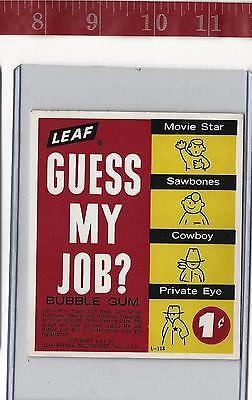 Vintage 1964 vending machine display LEAF Guess My Job? 1c gum card