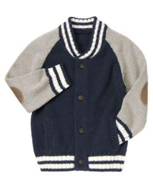 Gymboree Snow Legend Navy Grey Varsity Knit Cardigan Sweater M 7-8 Twins NEW NWT