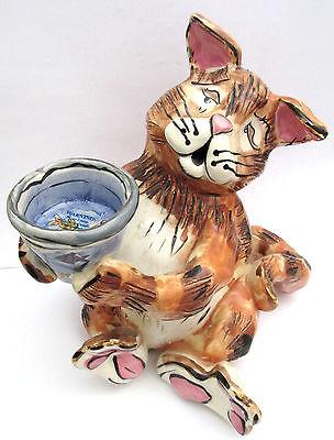 Heather Goldminc Clayworks Orange Tabby Cat & Fishbowl T Lite or Trinket Holder