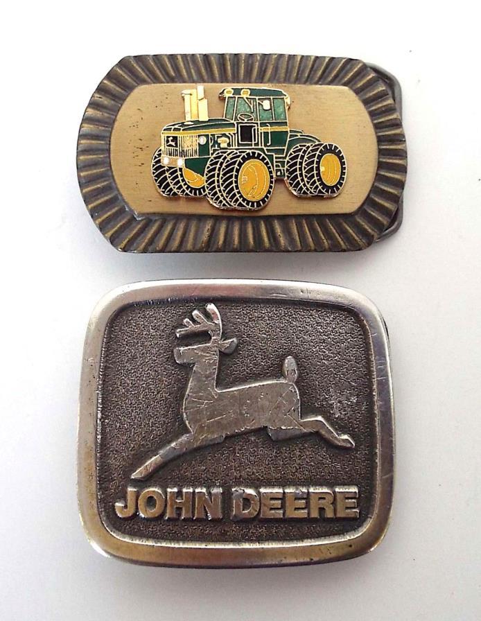 2 Piece Estate Lot Vintage John Deere Metal Belt Buckles Wyoming Studio