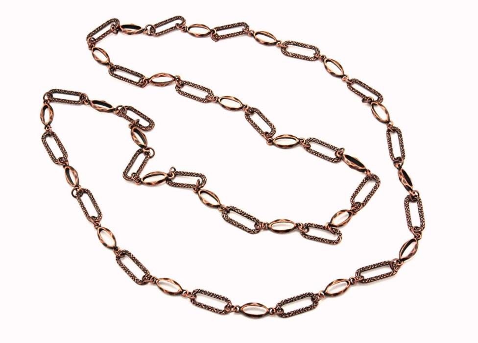 1-10 Feet 22x9, 20x7 Fancy Textured Antique Copper DIY Oval Loose Chain Findings
