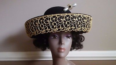 Oscar De La Renta Vintage 100% Wool Black & Gold Church Dress Kentucky Derby Hat