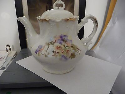 #729 vtg one cup Porcelain teapot No Maker Victorian FLOWERS