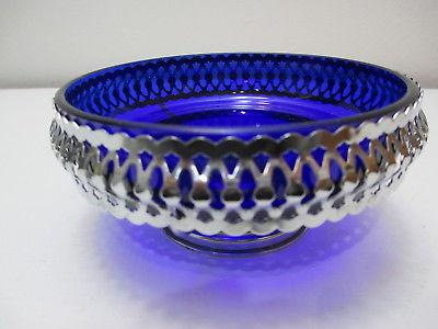 Vintage Cobalt Blue Glass Candy Dish Serving Bowl Footed Metal Holder 5 1/4