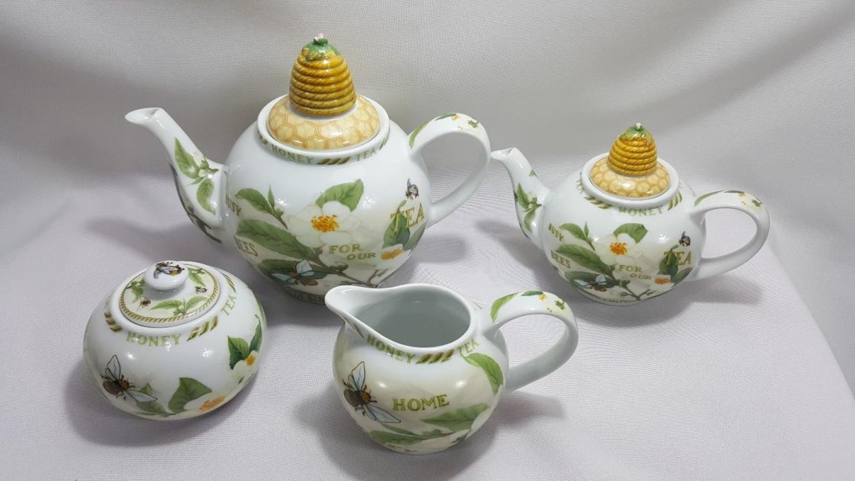 Paul Cardew Tea & Honey Tea Set 2 Teapots, Creamer & Sugar Pot Honey Bees Plants