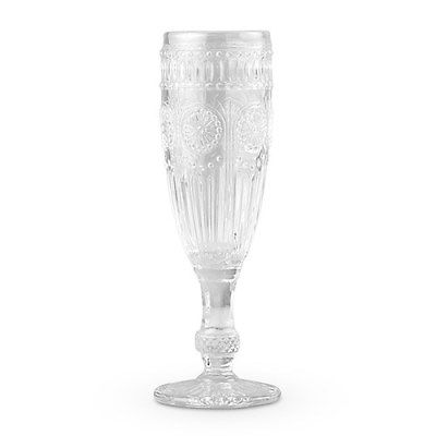 Vintage Pattern Pressed Glass Champagne Flutes [SET OF 2]