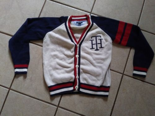 Boys size 8/10 S/P TOMMY HILFIGER BUTTON UP SWEATER VERY GOOD LOOKING PREOWNED