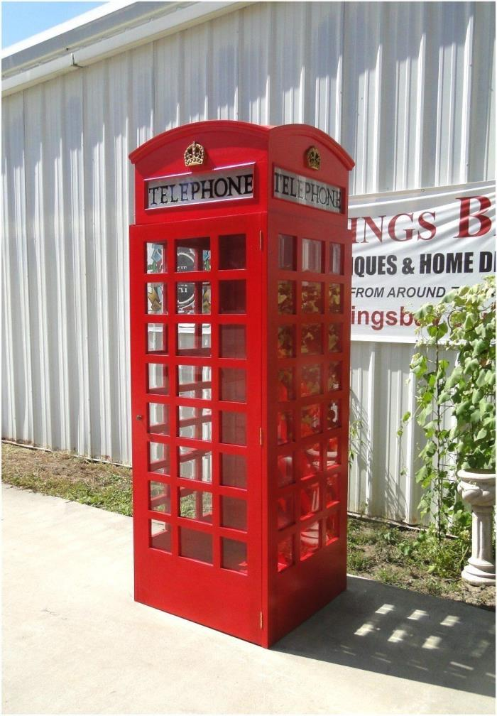 Red British London Telephone Booth Cast Iron Replica English Wood Old Stye Phone
