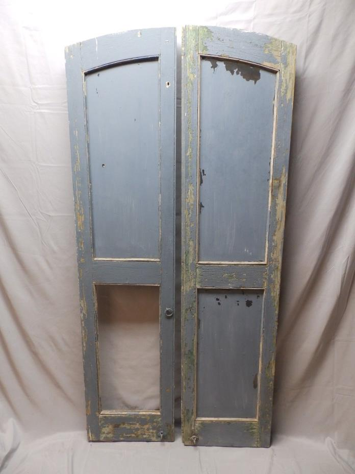 Antique Semi Arch Window Shutters Glass Cupboard Door Chic Old Vtg 72X17 48-18P