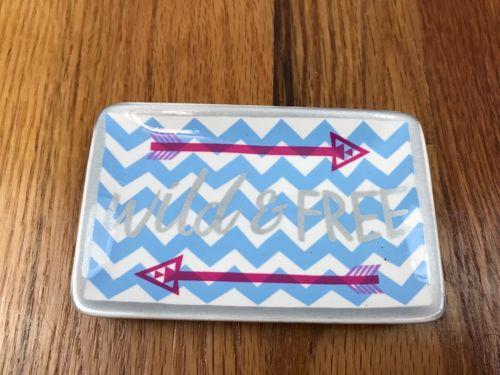 New Small Ceramic Trinket Dish Ring Jewelry Holder Wild & Free Blue Chevron