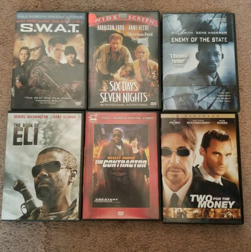 Lot of 6 Dvds Action/Drama Will Smith Denzel Washington Harrison Ford And More