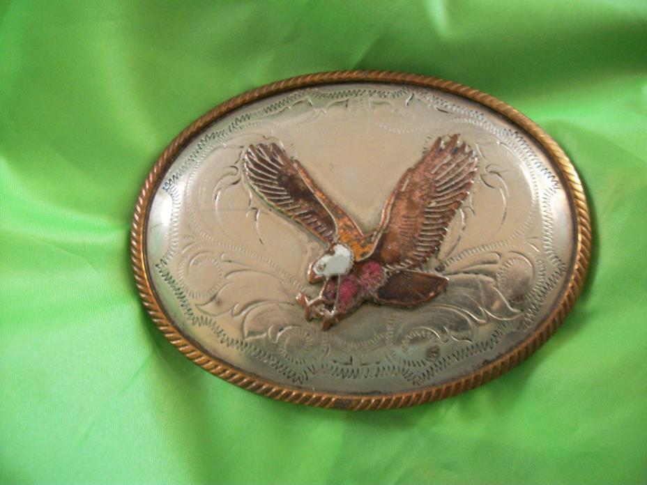 American Eagle Belt Buckle, German Silver