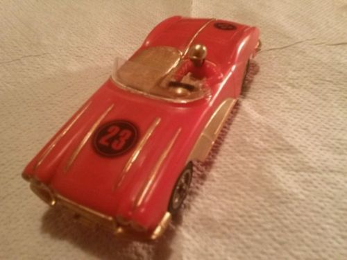 STROMBECKER CORVETTE CONVERTIBLE RED VINTAGE 1/32 SLOT CAR COMPLETE RUNS FAST