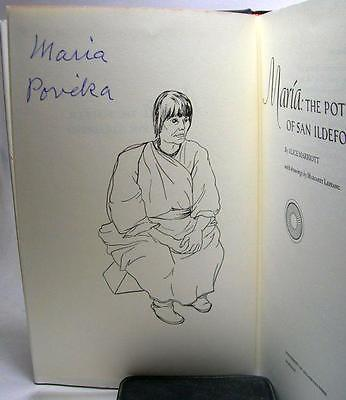 SIGNED by Maria: Potter of San Ildefonso as Maria Povecka HB DJ-Black pots