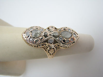 a829 Unique 1800's Single Rose Cut Diamonds Dinner Ring 14k Yellow Gold Size 4.5