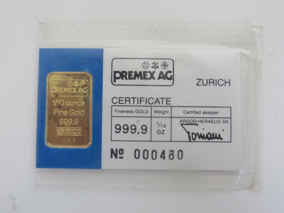 Premex  Swiss bank UBS Credit Suisse Argor Heraeus Gold bar 3.11 grams  .999