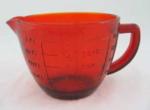 Red Glass 2 Cup Measuring Cup and Mixing Bowl