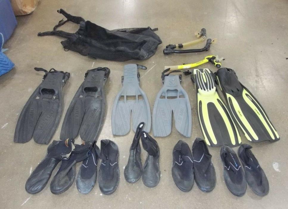 Scuba Gear Snorkel Lot, Scuba Pro,Oceanic,Fins,Snorkels,Dive Boots,Bag,Used once