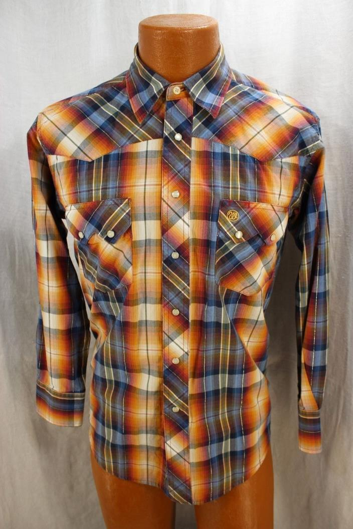WRANGLER Womens Size Med. Western Pearl Snap Orange Blue Plaid Silver Threading