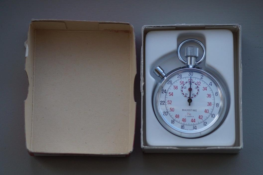 Vintage Majestime Swiss Made Stopwatch Stoppuhr, 7 Jewels 1/10, Working/Running