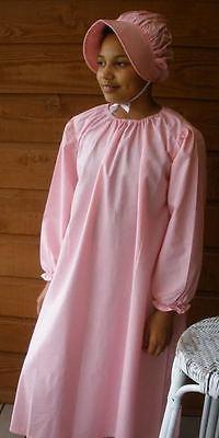 Girl Prairie Pioneer Peasant Costume Dress & Bonnet Mini dots pink M size 7 8
