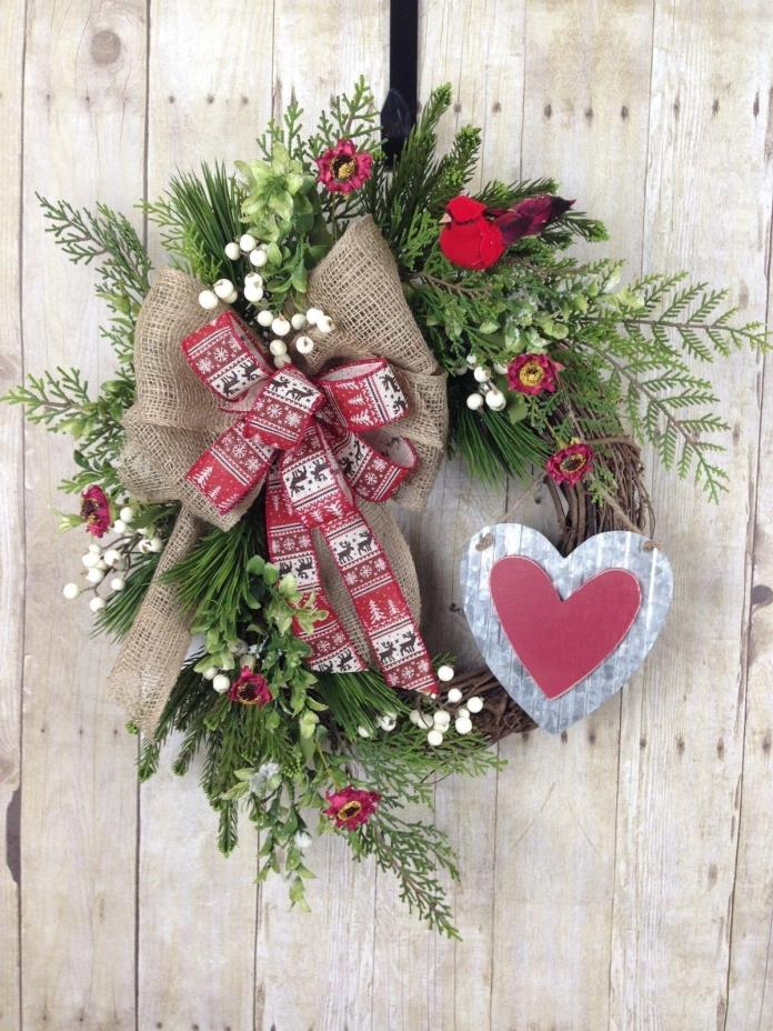 VALENTINES WREATH, HEART WREATH, VALENTINES DAY DECOR, RUSTIC WINTER WREATH