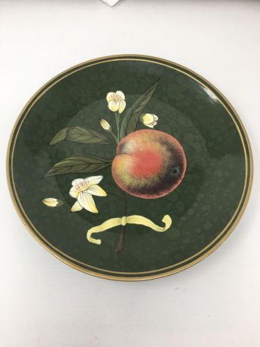 Raymond Waites For Toyo Trading Co Decorative Plate, Green W/ Painted Peach, 10