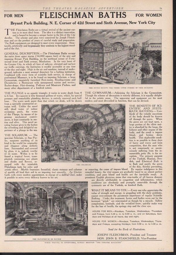 1908 JOSEPH FLEISCHMAN BATH TUB PLUNGE SOLARIUM GARDEN 14811