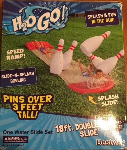 Water Bowling Speed Ramp Slide N Splash H2O Go Smooth Ride Oversized Bowling Pin